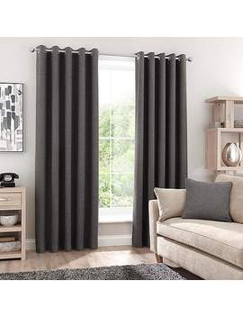 Luna Grey Thermal Blackout Eyelet Curtains by Dunelm