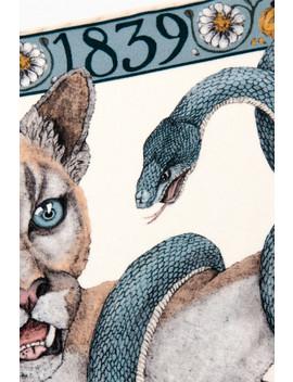 Cougar And Serpent Silk Neckerchief by Sabina Savage