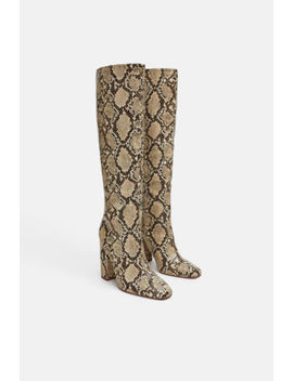 Zara Snakeskin Print Faux Leather Block High Heel Boots Round Toe 7006/301 by Zara