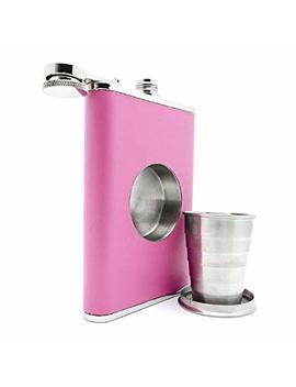 The Original Shot Flask   8oz Hip Flask With A Built In Collapsible Shot Glass   Stainless Steel With Premium Bonded Leather Wrapping (Pink) by Stone Cask