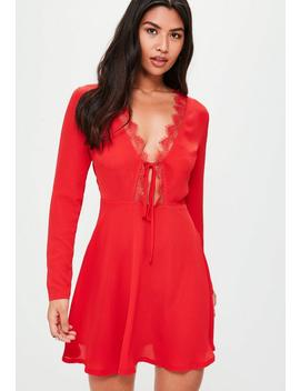 Red Lace Trim Tea Dress by Missguided