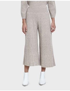 Ribbed Crop Pant In Beige by Sori