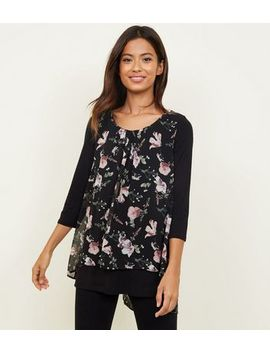 Apricot Black Floral Layered Split Back Top by New Look