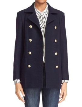Blue Double Breasted Wool Coat by Frame
