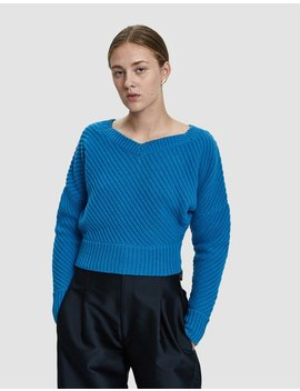 Cropped Rib Sweater by Colovos