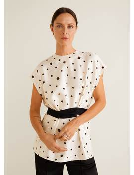 Bow Polka Dot Top by Mango