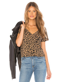 Leopard V Neck Tee by Lna