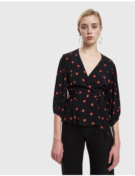 Barra Crepe Wrap Top In Black by Ganni