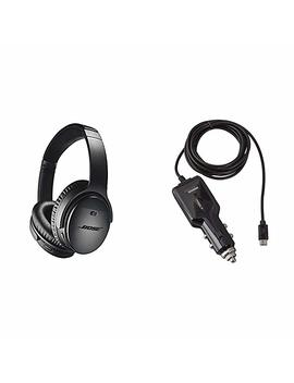 Bose Quiet Comfort 35 (Series Ii) Wireless Headphones, Noise Cancelling   Black With Amazon Basics Car Charger by Bose
