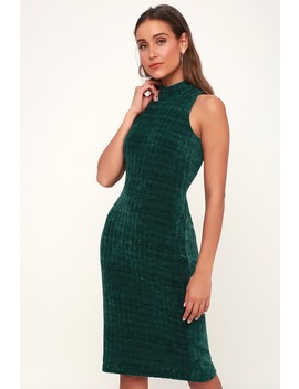 Hello Cozy Emerald Green Chenille Mock Neck Sweater Dress by Lulus