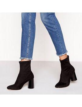 Faith   Black Suedette 'bock' High Block Heel Sock Boots by Faith