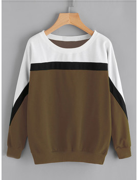 Color Block Cut And Sew Sweatshirt by Shein