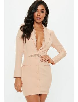Nude Lace Insert Cut Out Blazer Dress by Missguided