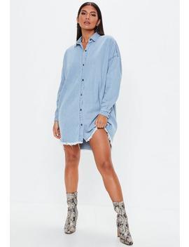 Blue Stonewash Oversized Denim Shirt Dress by Missguided