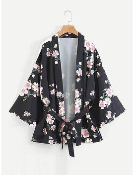 Random Florals Self Tie Kimono by Shein