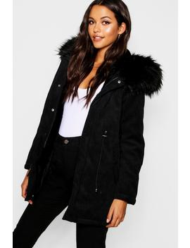 Cord Parka With Faux Fur Hood by Boohoo