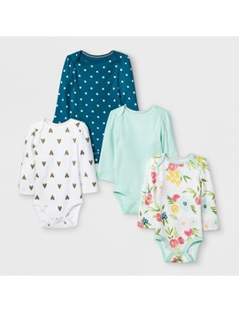 Baby Girls' 4pk Long Sleeve Bodysuit   Cloud Island™ Mint by Cloud Island™
