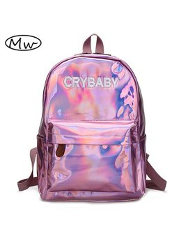 Moon Wood Harajuku Embroidery Letters Crybaby Hologram Laser Backpack Women Soft Pu Leather Backpack School Bags For Girls by Moon Wood