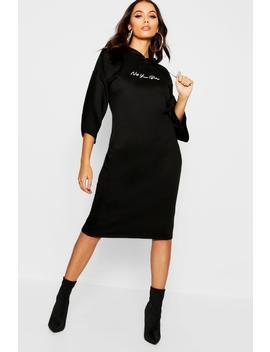 Not Your Baby Hooded Midi Sweatshirt Dress by Boohoo