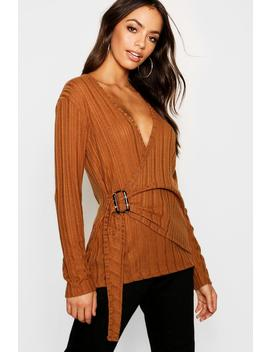 Rib Knit Wrap Buckle Top by Boohoo