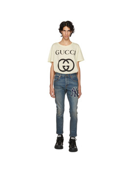 Blue Ny Yankees Edition Patch Jeans by Gucci