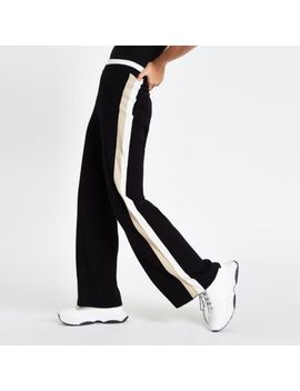 Black Knit Side Stripe Varsity Trousers by River Island