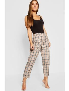 Petite Checked Tapered Trouser by Boohoo