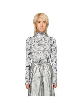 White & Grey Printed Turtleneck by Mm6 Maison Margiela