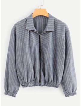Striped Zip Up Jacket by Shein