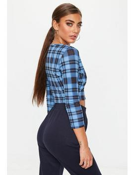 Blue Check Button Front Crop Top by Missguided