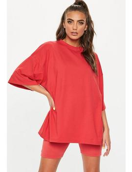 Red Drop Shoulder Oversized T Shirt by Missguided