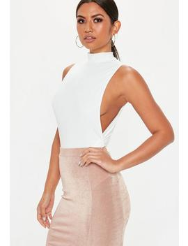 White High Neck Side Boob Slinky Bodysuit by Missguided