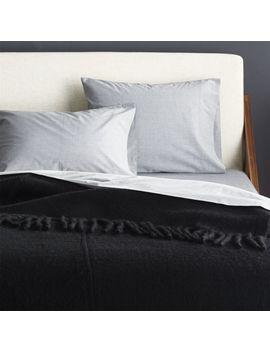 Marlee Fringe Black King Blanket by Crate&Barrel