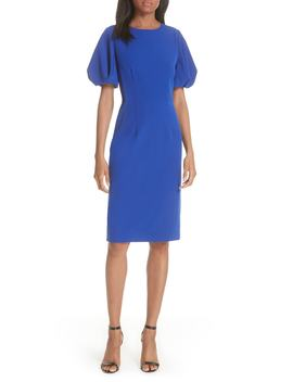 Kyle Puff Sleeve Cady Sheath Dress by Milly