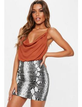 Rust Cowl Neck Bodysuit by Missguided