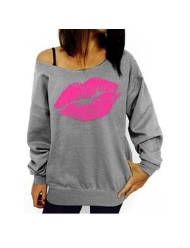 Dymade Women's Off Shoulder Sweatshirts Print Lips Sexy Pullovers Shirt by Dymade
