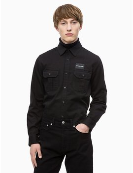 Slim Fit Logo Patch Military Shirt by Calvin Klein