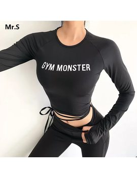 Solid Long Sleeve Yoga Crop Top Gym Shirts For Women Workout Shirts With Thumb Holes Fitness Running Sport T Shirts Training Top by Le Nakai