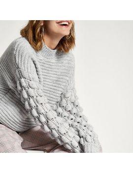 Grijze Gebreide Hoogsluitende Pullover Met Mouwen Met Textuur by River Island