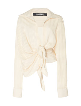 Bahia Knot Front Cotton Blend Top by Jacquemus