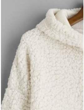 Drop Shoulder Fluffy Boxy Hoodie   Warm White M by Zaful