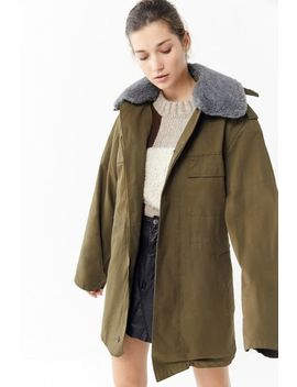 Vintage Faux Fur Collar Hooded Military Jacket by Urban Renewal