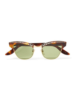 Pixie Crystal Embellished Gold Tone And Acetate Cat Eye Sunglasses by Gucci