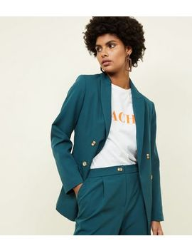 Dark Green Double Breasted Blazer by New Look