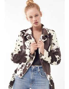 Uo Cow Print Faux Fur Moto Jacket by Urban Outfitters