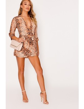 Dulcieh Rust Snake Print Tie Front Wrap Playsuit by In The Style