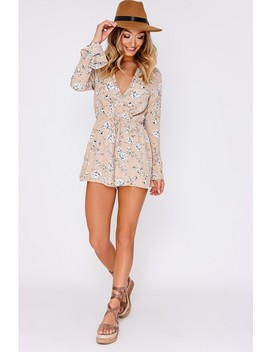 Andie Nude Floral Frill Trim Wrap Playsuit by In The Style