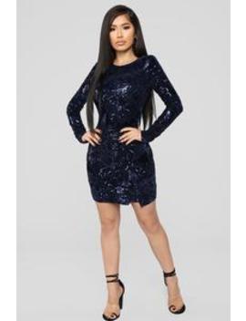 Heard It In A Love Song Mini Dress   Navy by Fashion Nova