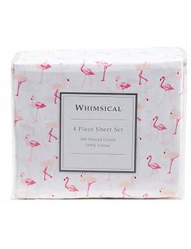 Elite Home Products, Inc. Whimsical Print 300 Thread Count Cotton Sheet Set Pink 4 Piece Queen by Elite Home