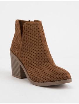 Soda Tarpon Cognac Womens Heeled Booties by Soda